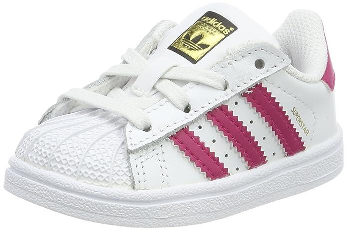 adidas Superstar Sneakers Baby Schuhe Unisex Weiß mit lila Streifen