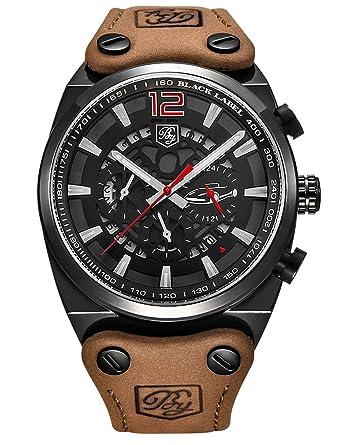 e355937ff59 BENYAR Sport Men Watches Skeleton Military Chronograph Quartz Man Outdoor  Big Dial Watch (Black red)  Amazon.co.uk  Watches