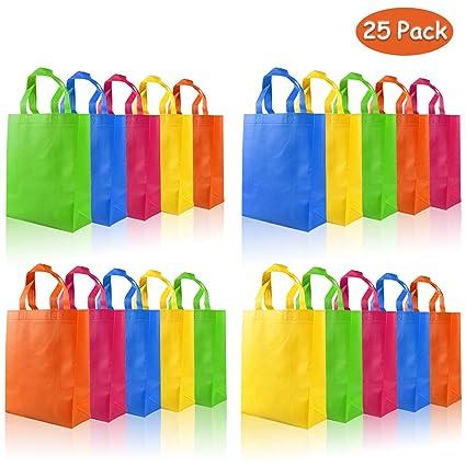 aovowog 25 Pcs Bolsas Regalo de Fiestas con Asas no Tejidas para Cumpleaños Navidad Baby Shower Boda, 5 Colores