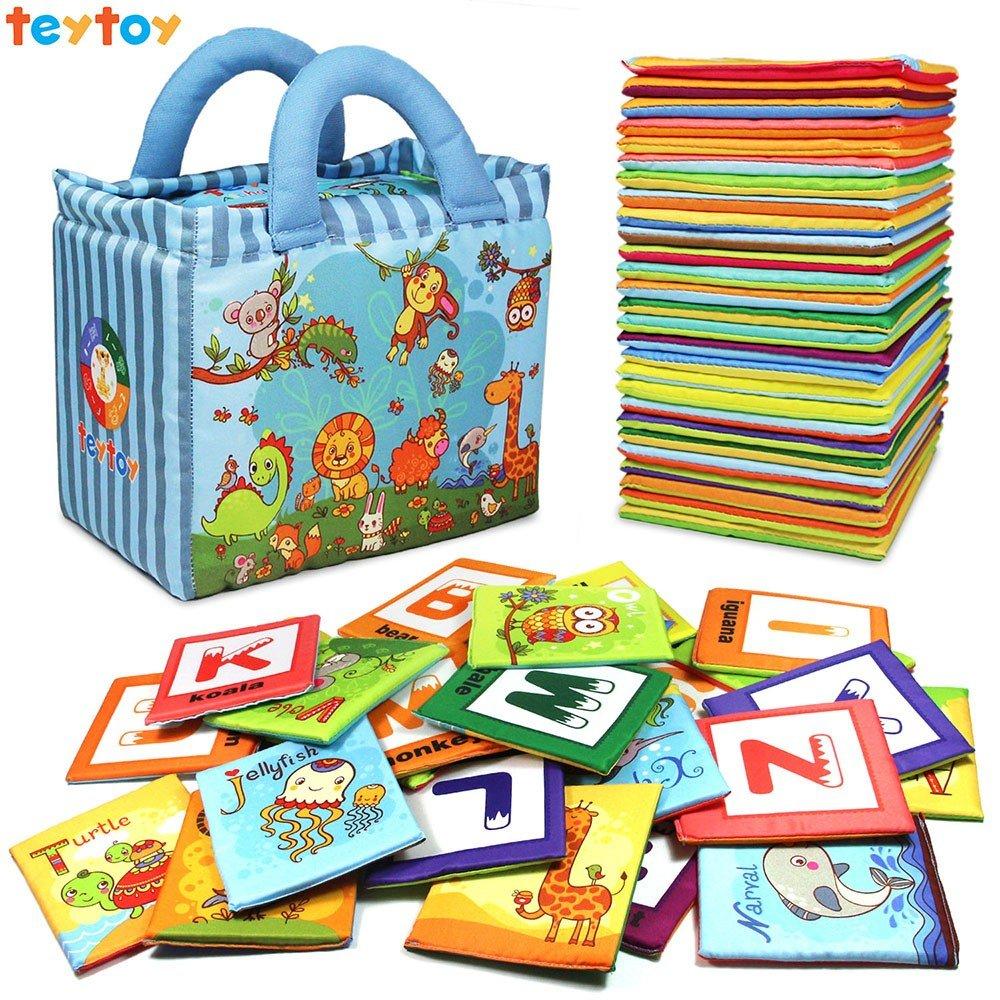 TEYTOY 26 Tarjetas de Alfabeto Blando Lavable, Juguetes de Tela No Toxica de Zoo para Bebé Más de 0 Años Regalo Perfecto para Educación Preescolar 1