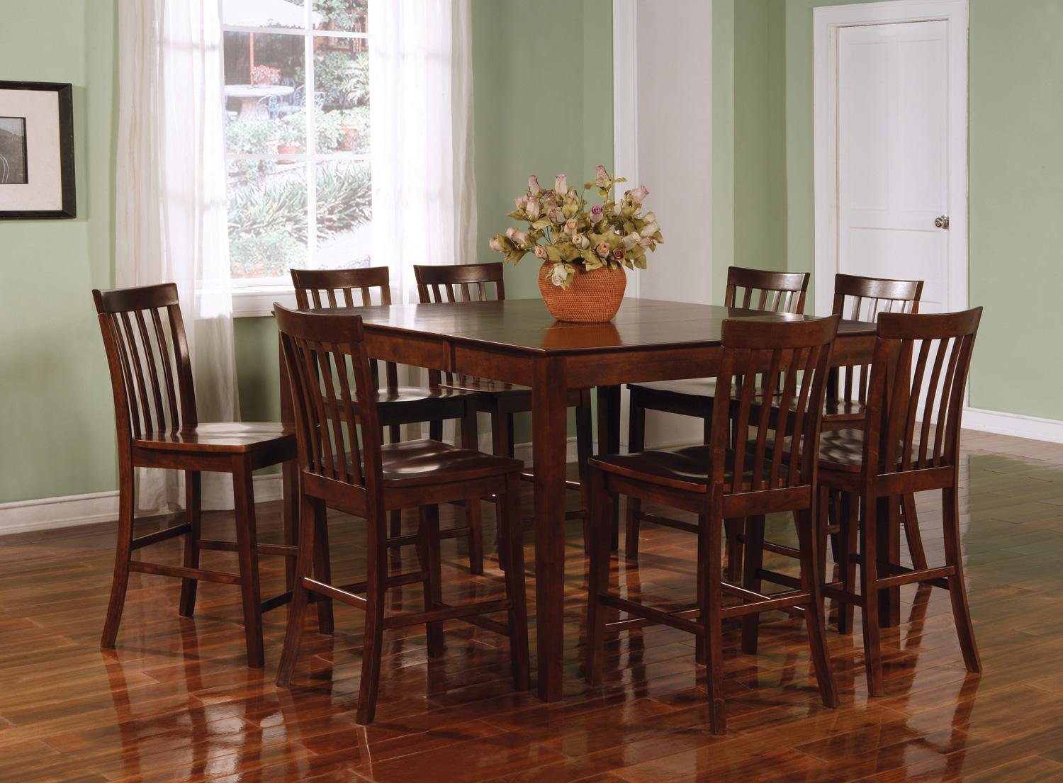 table chairs mcgregor piece sets wood dining room height freight set american counter brown