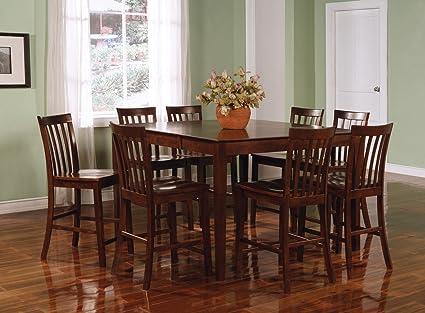 Amazon.com - 9pcs Contemporary Walnut Counter Height Dining Table ...