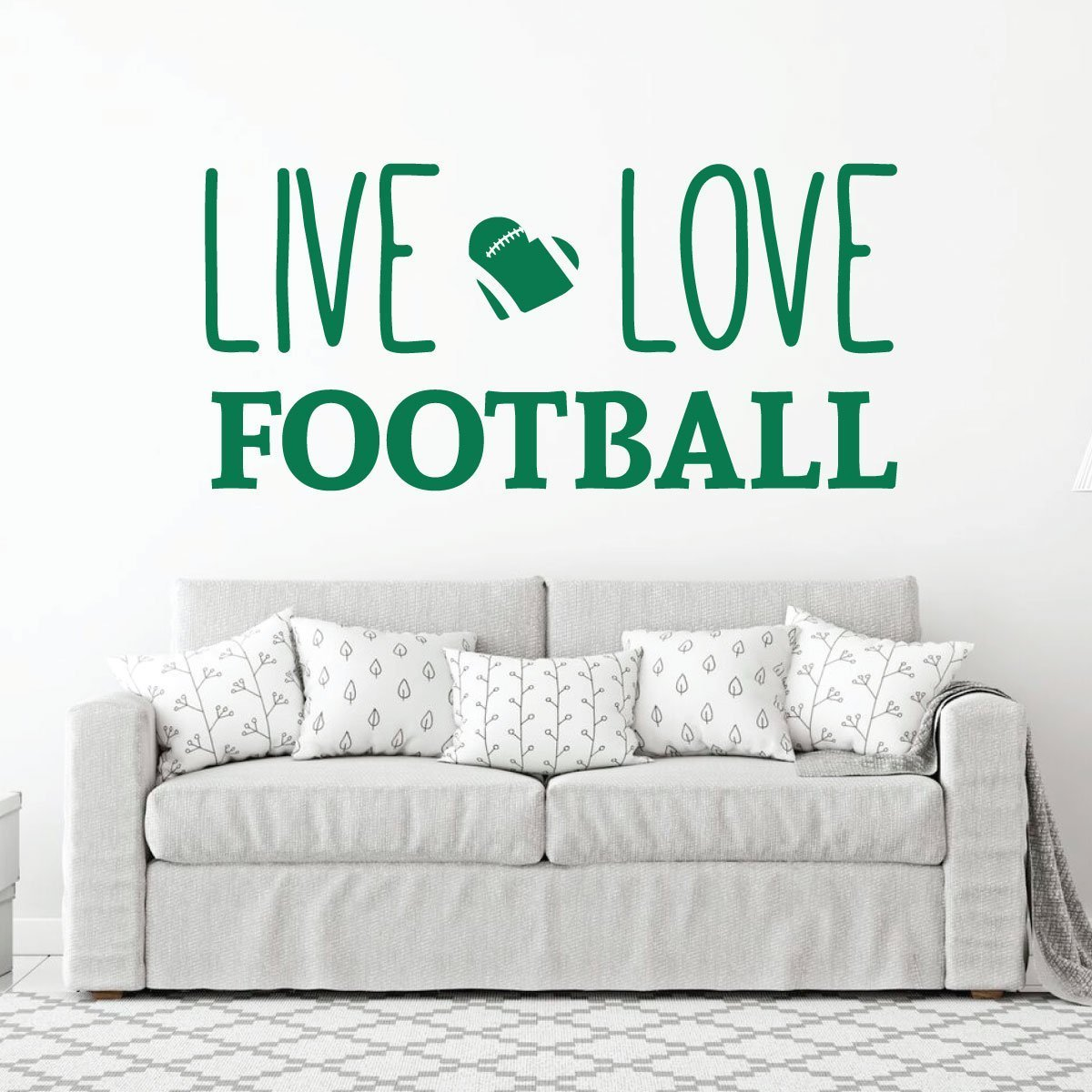 Live Love Football Wall Decal - Vinyl Art Sticker for Bedroom, Home Decor, Playroom or Game Room Decoration by CustomVinylDecor (Image #7)