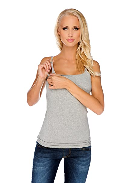 My Tummy Top de Lactancia Camiseta Sujetador Integrado Gris S (Small)