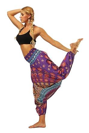 Pantalones de Yoga Harén Hippie Boho Pantalon Suave ...