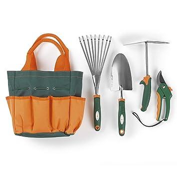 Prima Garden Set de 5 outils de jardin | Sécateurs, Double Hoe ...