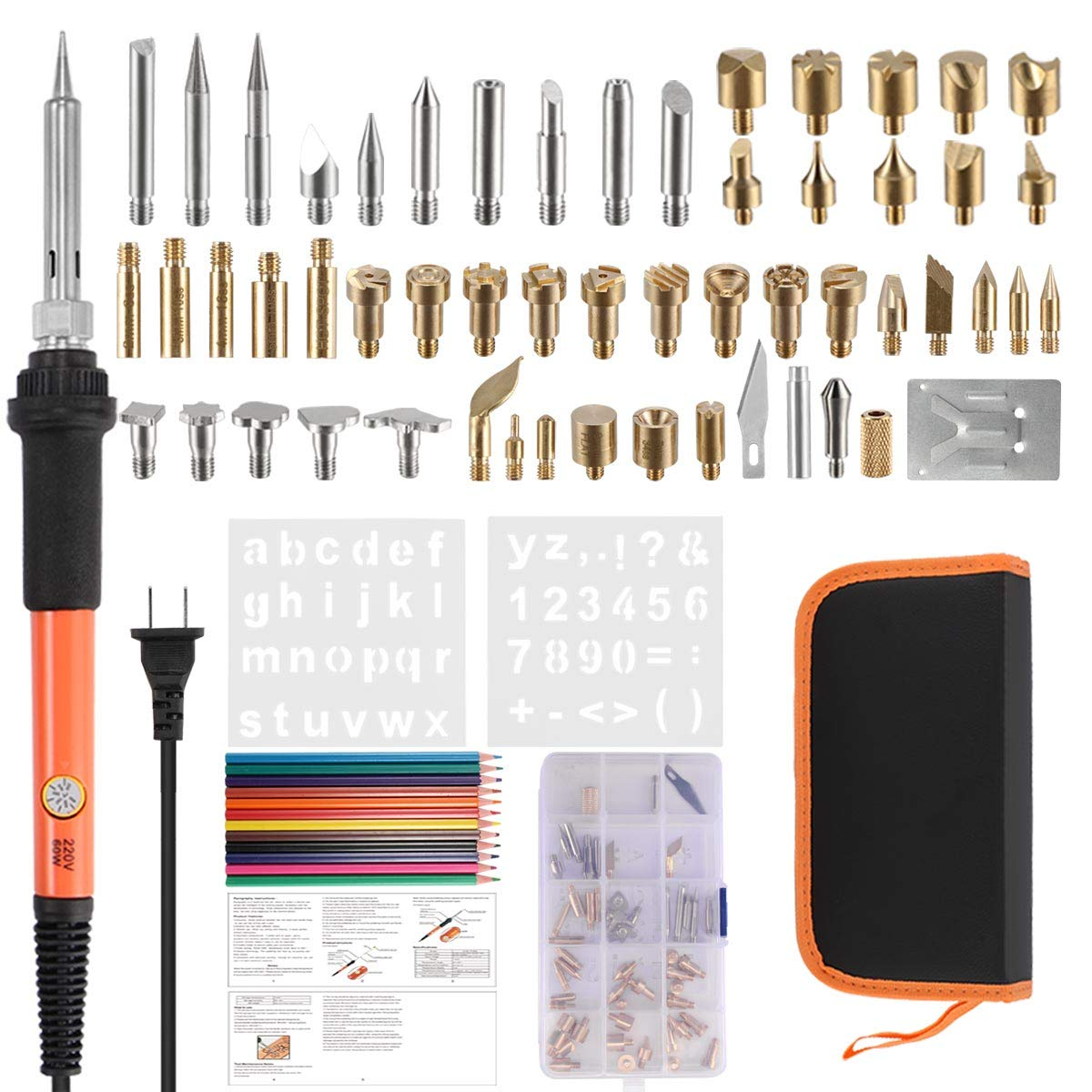 Wood Burning Kit, Wood Burning Tool Pen Set, 71Pcs 60W Professional Electric Wood Burning Tool Kit Temperature Adjustable with Soldering Iron Pen, Emboss/Carving Tip,Soldering Tip as Fathers' Day Gift