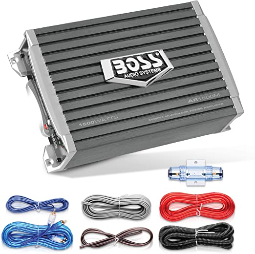 Amazon.com: BOSS Audio Systems AR1500MK Car Amplifier and 8 Gauge Wiring Kit  - 1500 Watts Max Power, 2/4 Ohm Stable, Class AB, Monoblock, Mosfet Power  Supply, Remote Subwoofer ControlAmazon.com