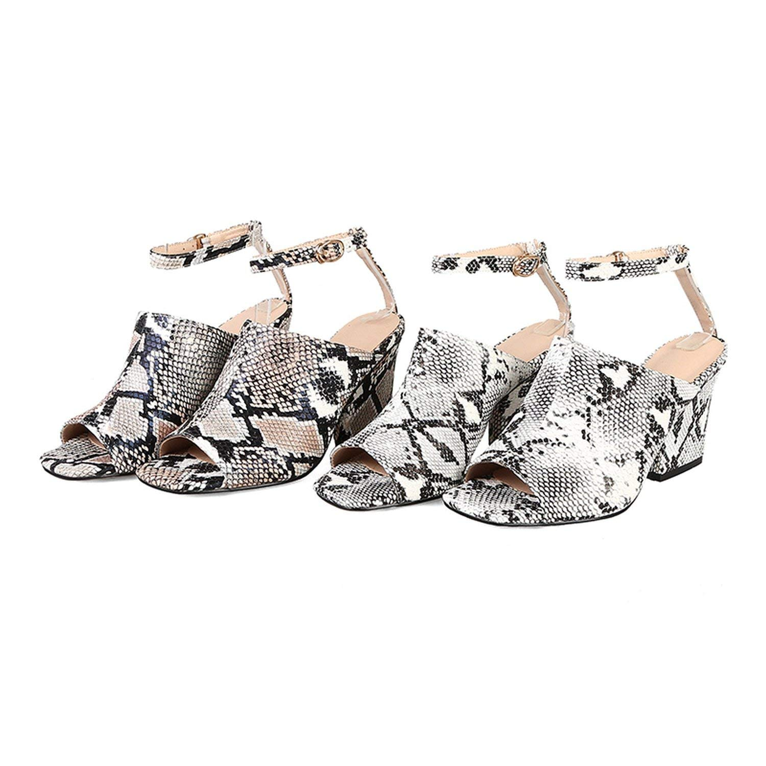 shine-hearty Big Size 32-44 Snake Veins Ankle Strap High Heels Shoes Woman Summer Sandals,White,6
