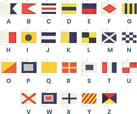 Ships Chandlery Juego de Banderas de señal náutica con Letra A a Z de la Marca Decoración del Alfabeto de la Bandera marítima; Tela Cosida a Mano de 19.50 Pulgadas: Amazon.es: Hogar