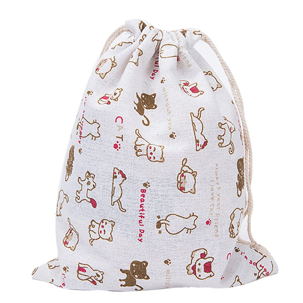 Clearance!KingWo Cotton Fabric Fashion Unisex Backpacks Flowers Leaves Cats Printing Bags,Drawstring Backpack 3 Sizes (Red, L)