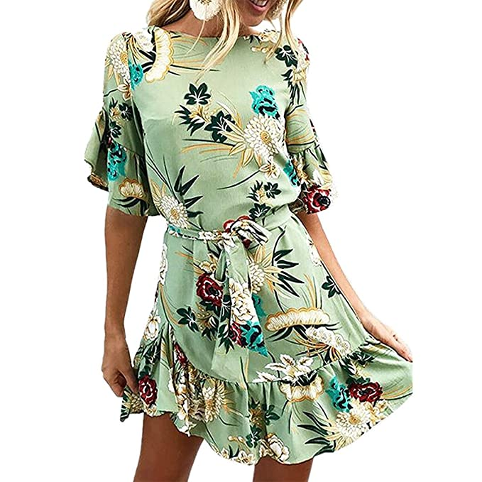 Vestido de Mujer, Lananas 2018 Mujer Verano Floral Impresión Manga Corta Volante Fruncido Dobladillo Verde Mini Vestir con Cinturón Mini Dress: Amazon.es: ...