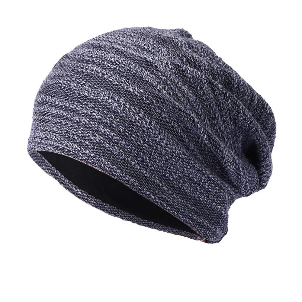 WUAI Clearance Deals,Mens Womens Knit Baggy Hats Warm Crochet Winter Wool Ski Beanie Casual Skull Caps (Navy,Free Size)