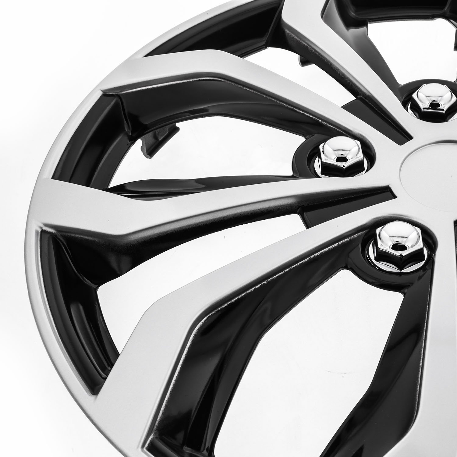 Pilot WH553-16S-BS Universal Fit Spyder Black/Silver Finish 16 Inch Wheel Covers - Set of 4 by Pilot Automotive (Image #3)
