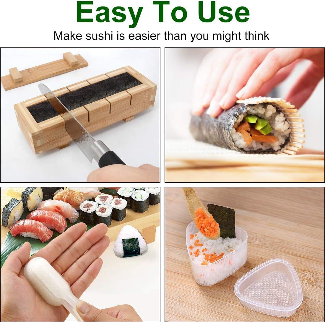 1 Warship Sushi Mold and 2 Origin Mold 12 Pics of Chopsticks kit with Storage Bag 1 Sushi Knife Bamboo Sushi Roller Kit Colovis 19 Pics Sushi Making Kit,Including 2 Sushi Mats,1 Sushi Making Mold