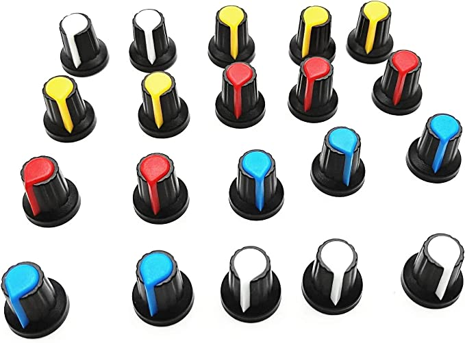 20x Blue indication 6mm Shaft Hole Knurled Grip Potentiometer Pot Knobs Caps ML