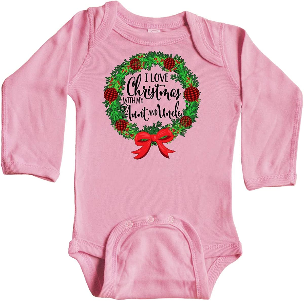 inktastic I Love Christmas with My Aunt and Uncle Wreath Long Sleeve Creeper