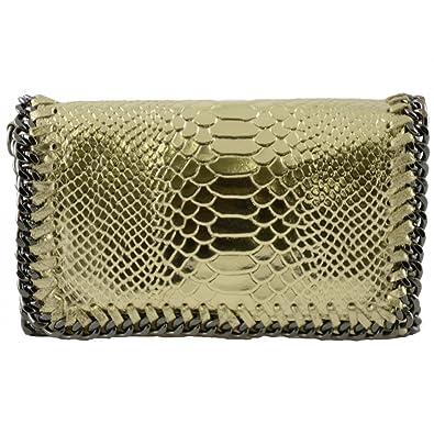 Woman Shoulder Genuine Leather Bag Python Print Color Gold