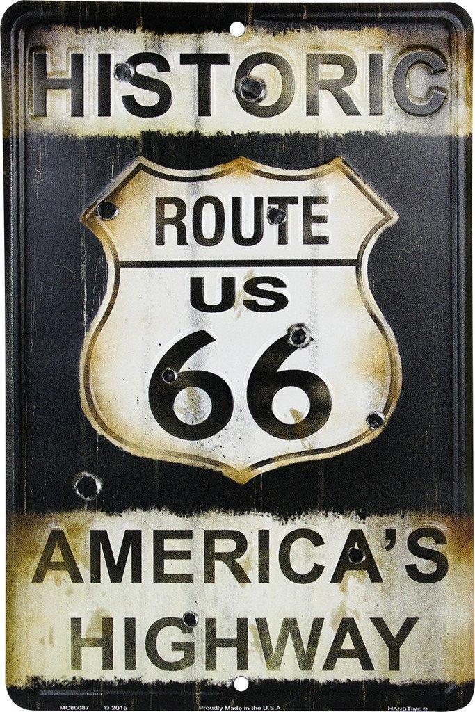 Route 66 Bullet Holes Cartel de Chapa Placa metal plano ...