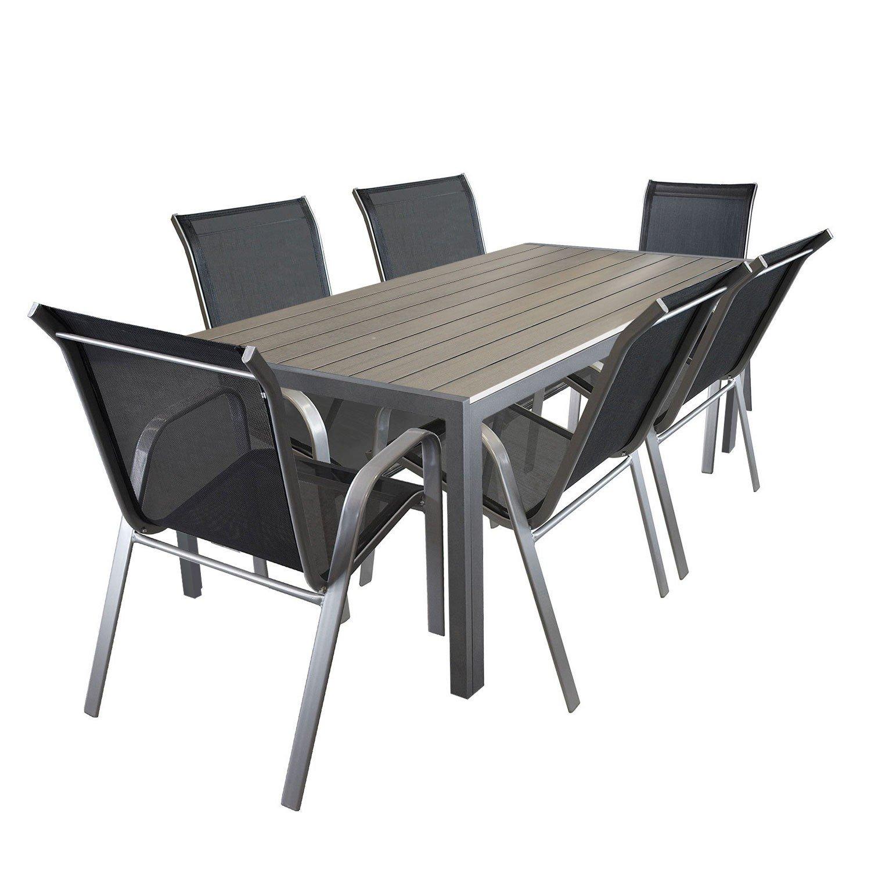 7tlg. Sitzgarnitur Aluminium Polywood Gartentisch 205x90cm Stapelstuhl pulverbeschichter Gartenstuhl mit Textilenbespannung Terrassenmöbel Gartengarnitur Sitzgruppe