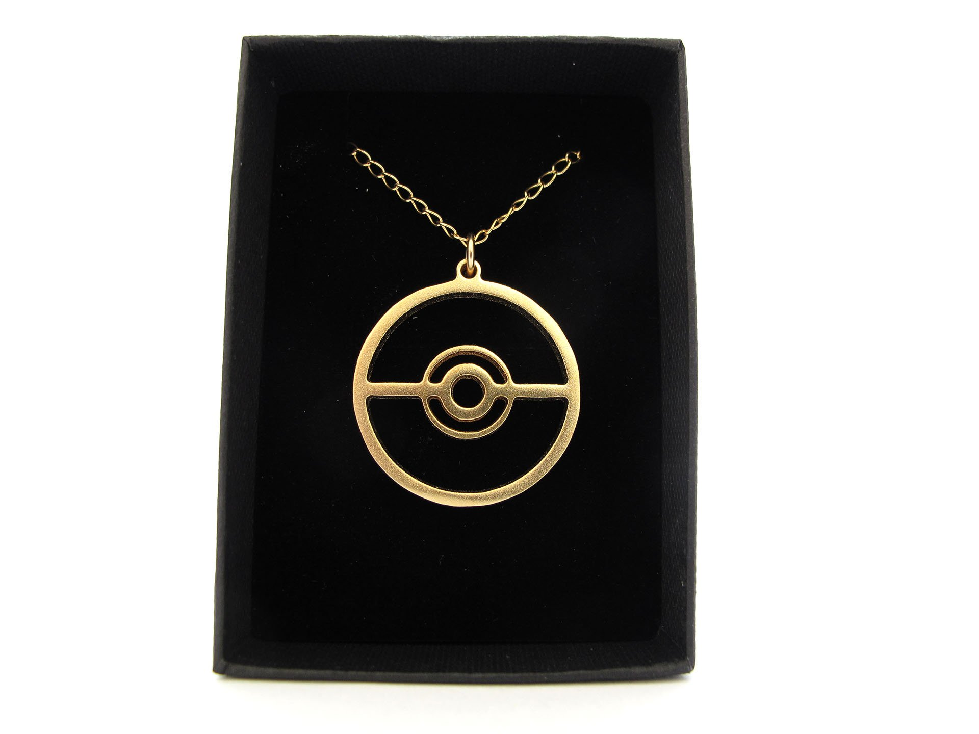Pokeball Pokemon Necklace Gold Plated on a Gold-filled Chain