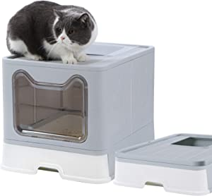 Dymoll Large Cat Litter Box, Foldable Top Entry Litter Box with Lid ,Easy Clean No Smell Pet Kitty Litter Box Litter Pan Cat Potty