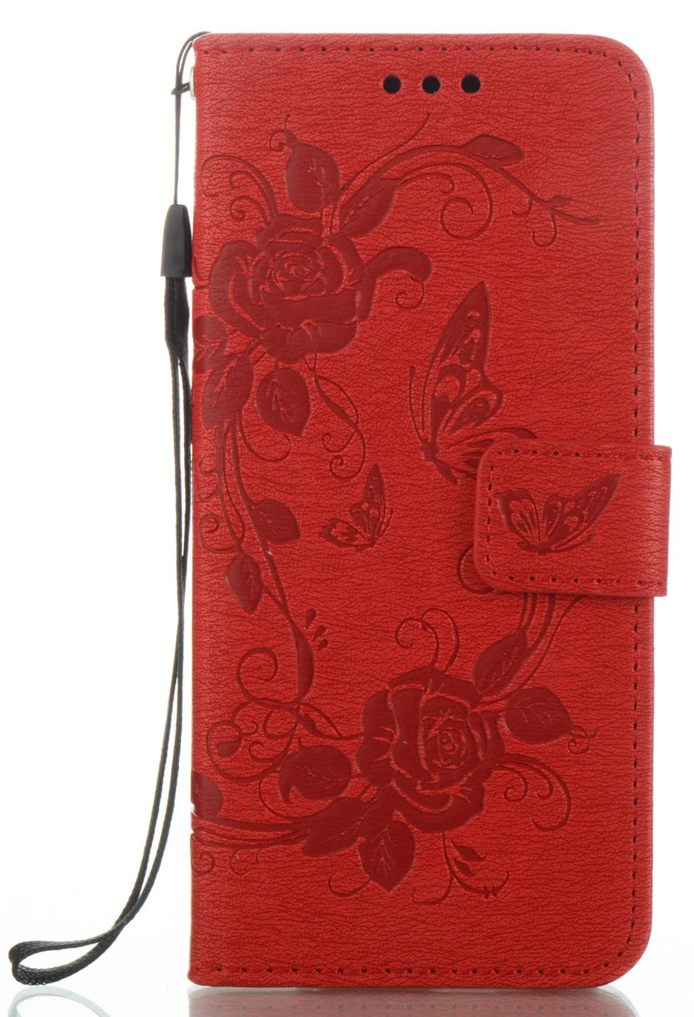 Galaxy S8 Case Cover Aiyze Luxury Wallet Style Magnetic Closure Red PU Leather Emboss Fashion Butterfly Flower Pattern with Stylus Hand Wrist Strap Stand Feature Built-in Card Slot Flip Bookcase