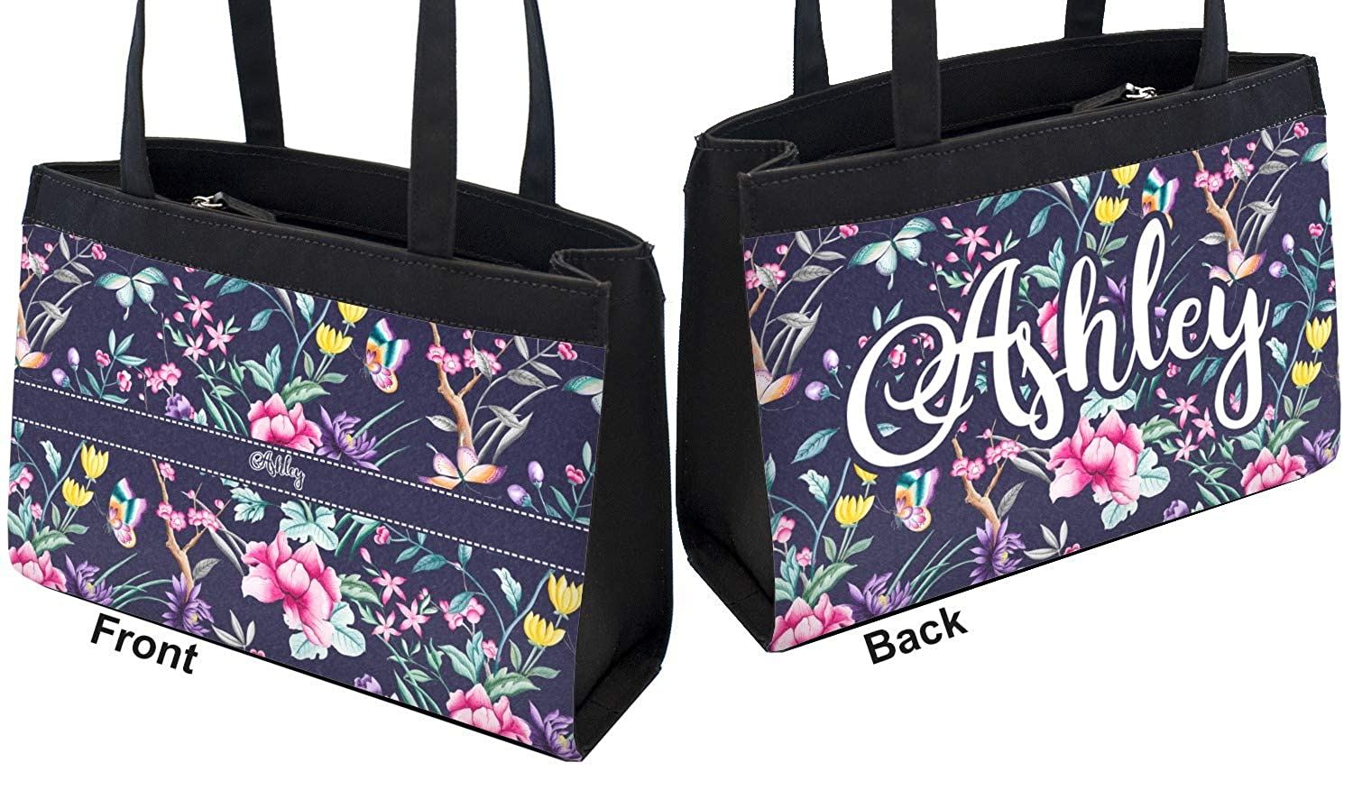 Personalized Front /& Back Chinoiserie Zippered Everyday Tote