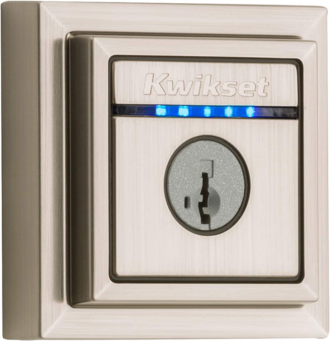 Kwikset 99250-206 Kevo Contemporary Touch-to-Open Bluetooth Smart Square Door Lock Deadbolt Featuring SmartKey Security, Satin Nickel