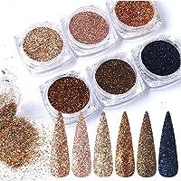 Rose Gold Nail Glitter Holographic Powder,Nail Glitter Kits,Laser Shining Flakes Sparkling Glitters Nails DIY Women Club…