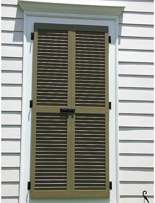 Per Pair Black Ekena Millwork RWL12X045BLW Exterior Real Wood Cedar Louvered Shutters 12w x 45h