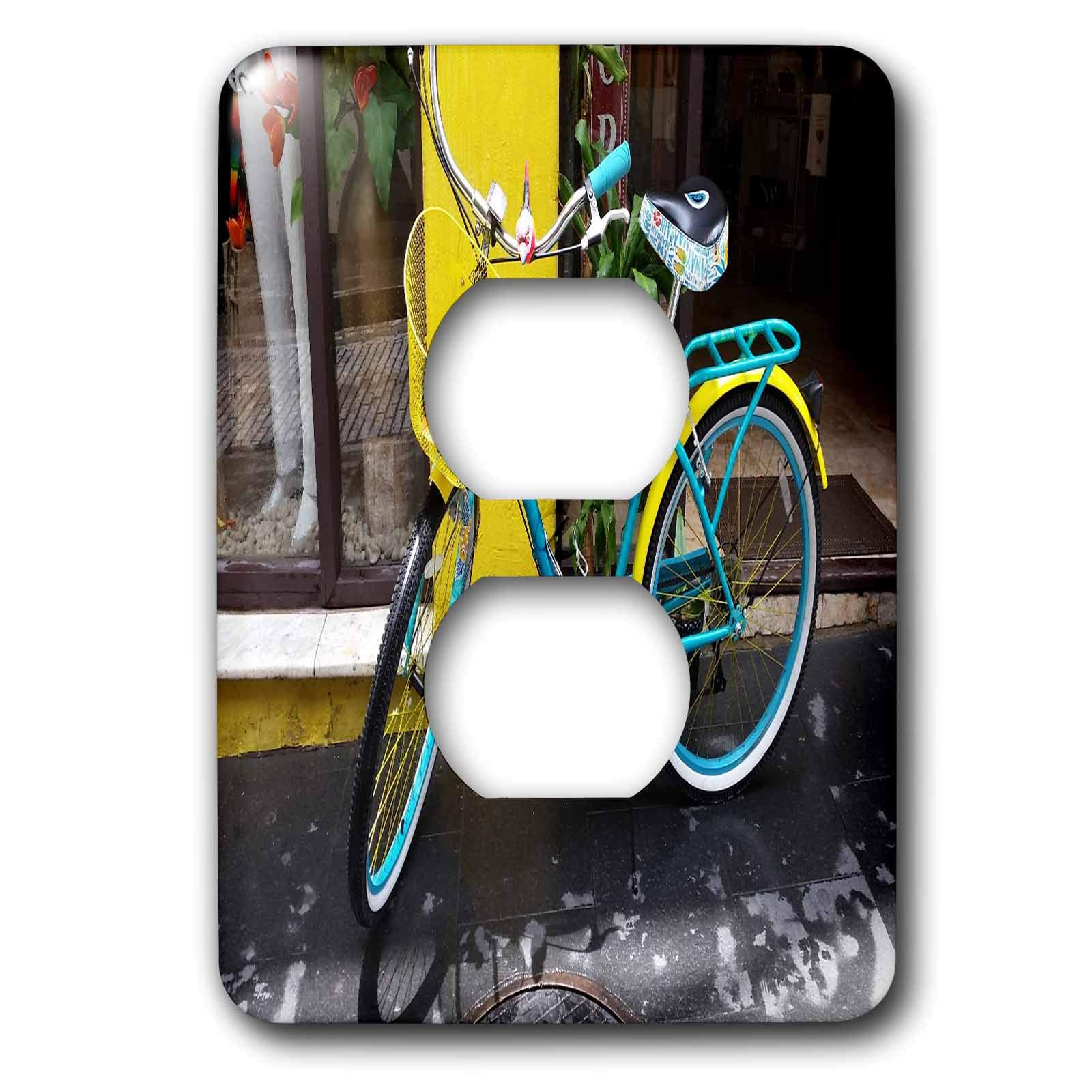 3dRose Lens Art by Florene - Cruise Ship Sites - Image of A Colorful Bicycle Downtown San Juan - Light Switch Covers - 2 plug outlet cover (lsp_290967_6)