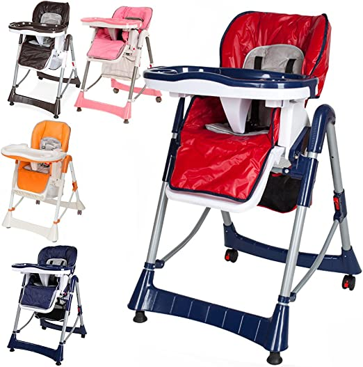 MON BEBE Chaise Haute pour b/éb/é//enfant pliable et confortable avec tablette Ribbon Red