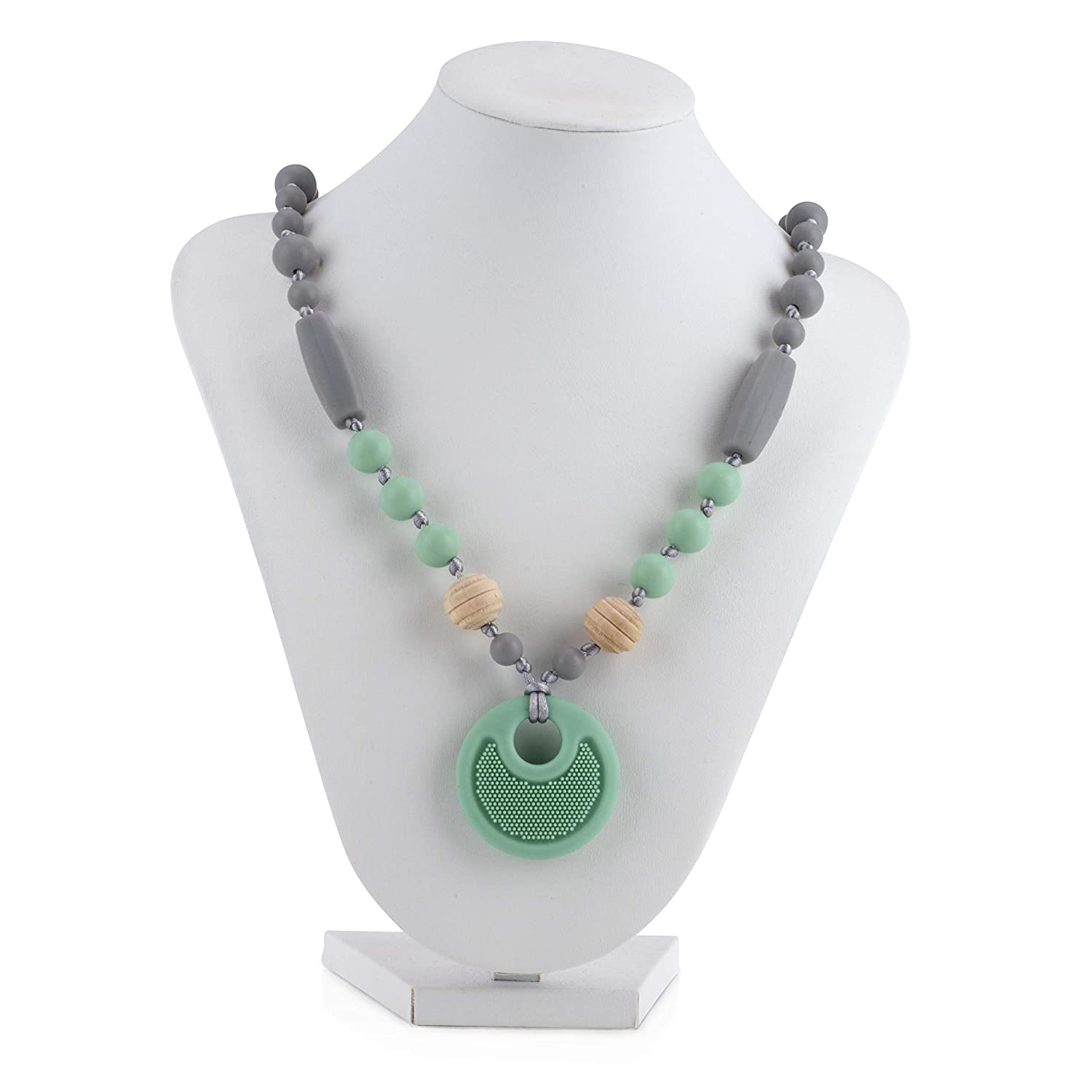 Nuby Baby Teething Trends Silicone Pendant Necklace for Moms with Wooden & Silicone Beads (983)