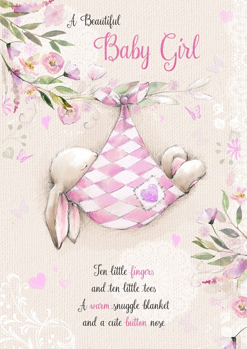 Birth of baby girl greetings card rabbit sleeping in pink blanket birth of baby girl greetings card rabbit sleeping in pink blanket 75 x 525 hgs238p m4hsunfo
