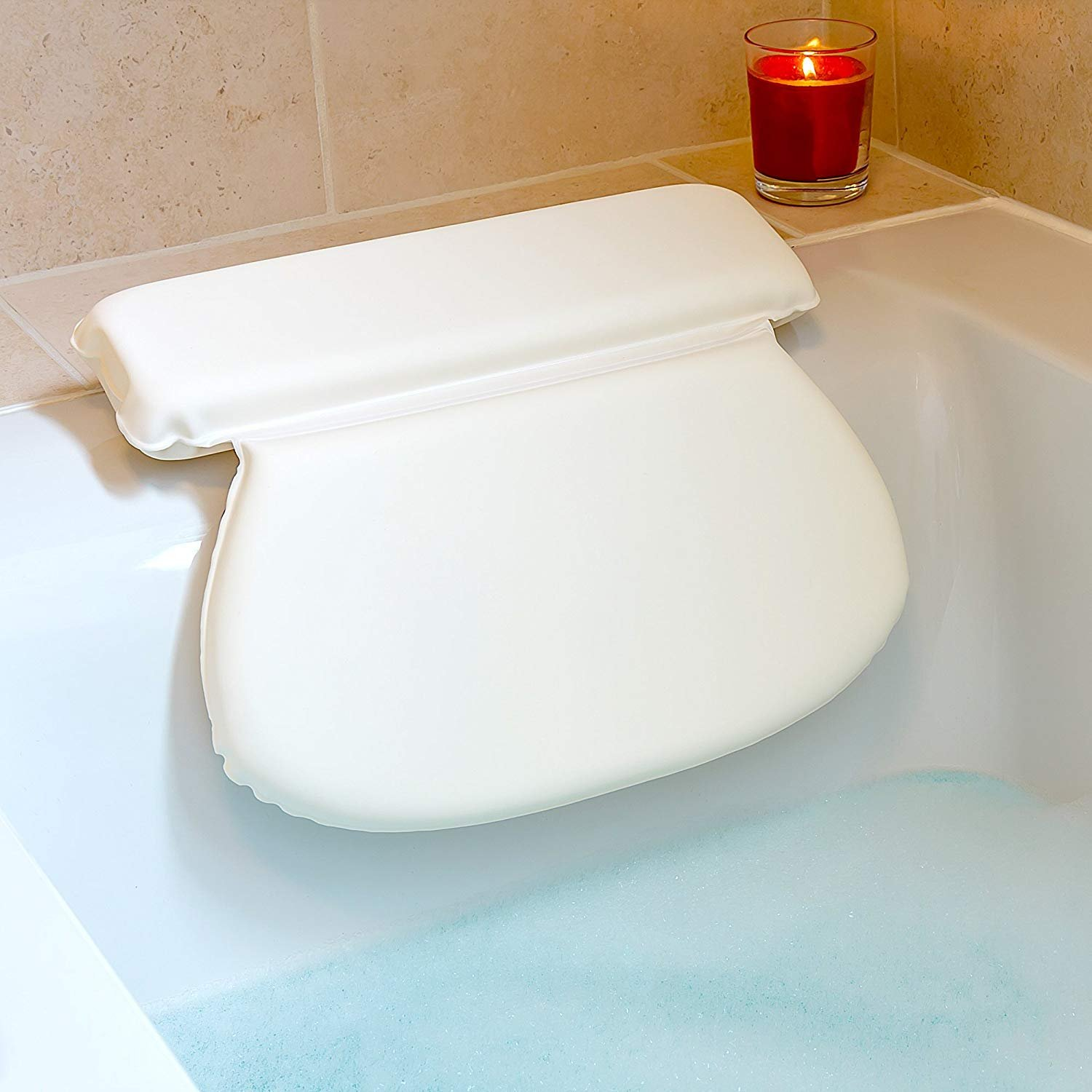 Luxury Spa Bath Pillow with Head Neck Shoulder and Back Support by Bossjoy (Image #1)