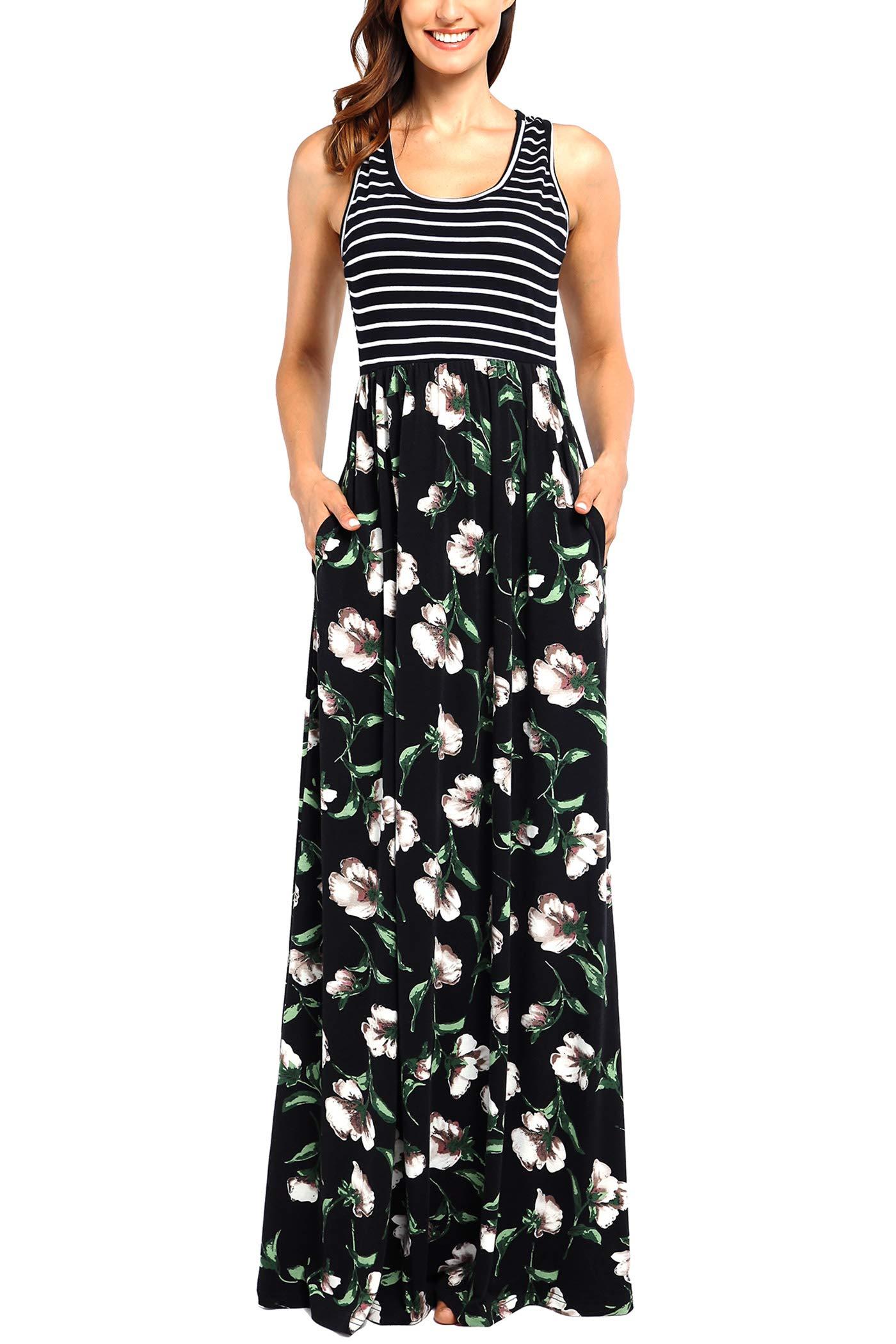 Comila Tank Maxi Dresses for Women Plus Size, Retro Bohemian Style Long Summer Dress Work Office Empire Waist Classic Floral A Line Maxi Dress Black XXL (US 18-20)