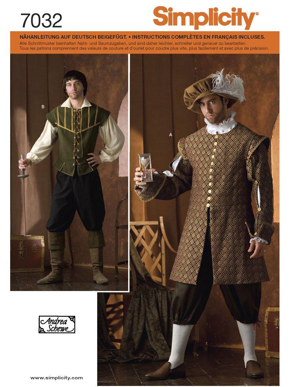 Simplicity Schnittmuster 7032 A Herren Kostüm Gr. XS - XL: Amazon.de ...