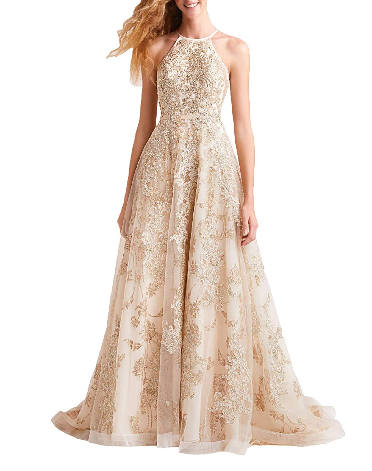 Champagne Wanshaqin Women's Aline Floral Beaded Prom Formal Dress Evening Cocktail Dress Bridesmaid Gown for Wedding Party