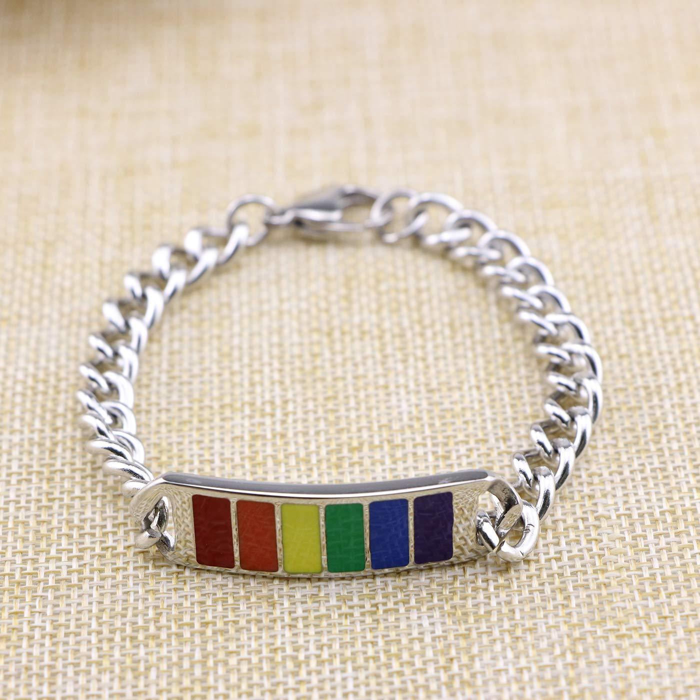 Awegift Stainless Steel Rainbow Gay Lesbian LGBT Chain Bracelet 10mm 13mm Width