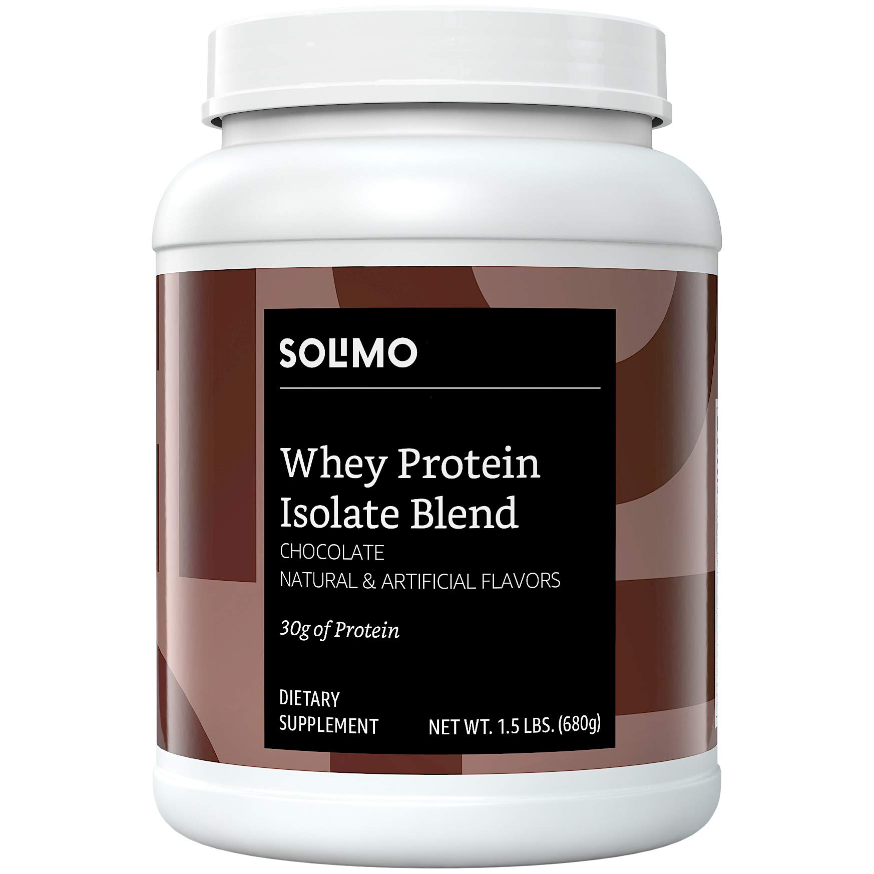 Amazon Brand - Solimo Whey Protein Isolate Blend, Chocolate, 1.5 Pound (18 Servings)