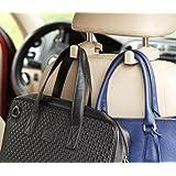 2pcs Universal Auto Car Back Seat Headrest Hanger Holder Hooks Clips for Bag Purse Cloth Grocery Automobile Interior Accessories 3 Colors (Beige)