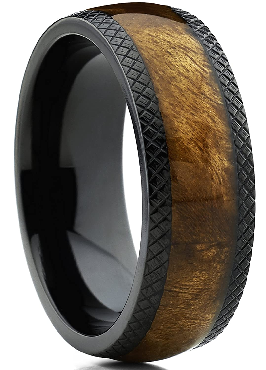 Amazon.com: Dome Black Titanium Wedding Band Ring With Real Marble Brown  Wood Inlay