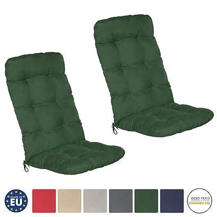 Beautissu Flair HL - Set de 2 Cojines para sillas de balcón o Asientos Exteriores con Respaldo Alto - 120x50x8 cm - Verde Oscuro