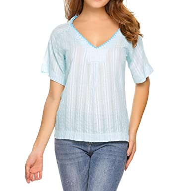 5ae16a225f9 Zeagoo Womens V Neck Cotton Linen T Shirts Short Sleeve Summer Blouses  Crochet Neckline Tops Baby