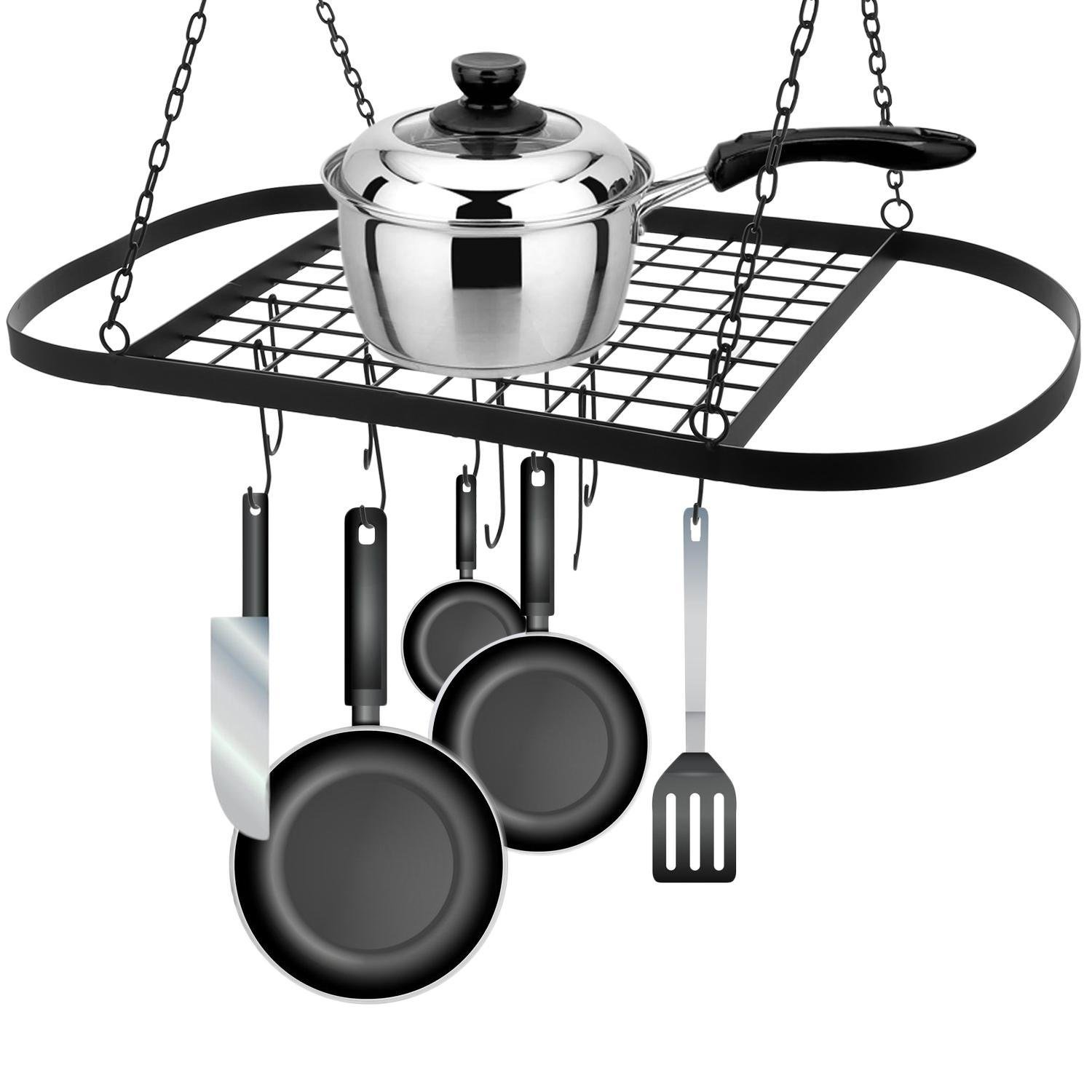 Iron Hanging Pot Holder with Hook, Kitchen Hanger Pots and Pans Rack Organizer to Storage Utility Cookware (31.1 x 16.5 x 19.7inch)