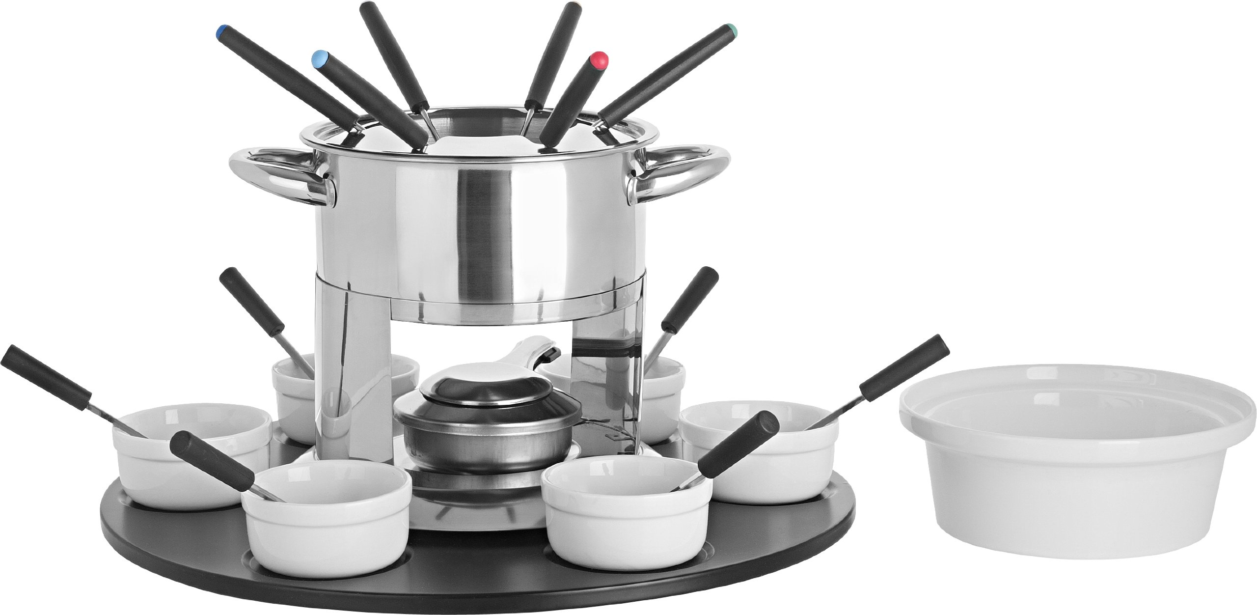 Trudeau Home Presence Laila 44 Ounce Stainless Steel Fondue Set with Double Boiler Inset and Laze Susan - 24 Piece by Trudeau Home Presence