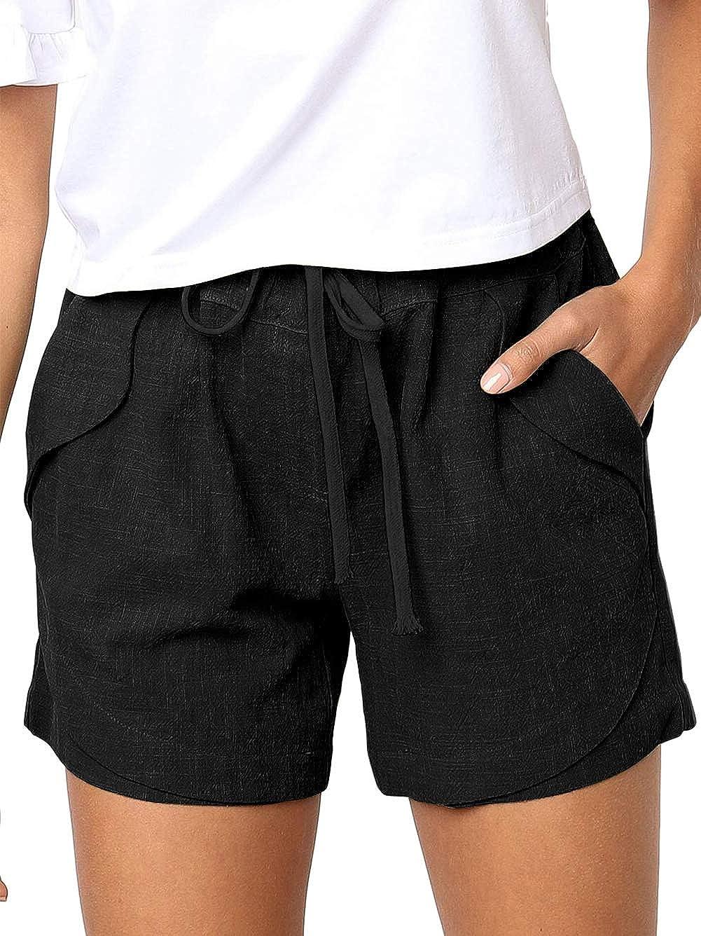 Bunanphy Summer Drawstring Elastic Waist Casual Shorts with Pockets Lounge Pants Shorts