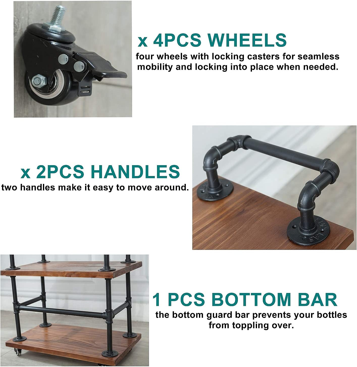 DOFURNILIM Best Bar Carts//Serving Carts//Kitchen Carts//Wine Rack Carts on Wheels with Storage Industrial Rolling Carts Solid Wood and Metal Home Furniture Wine Tea Liqueur Shelves//Holder
