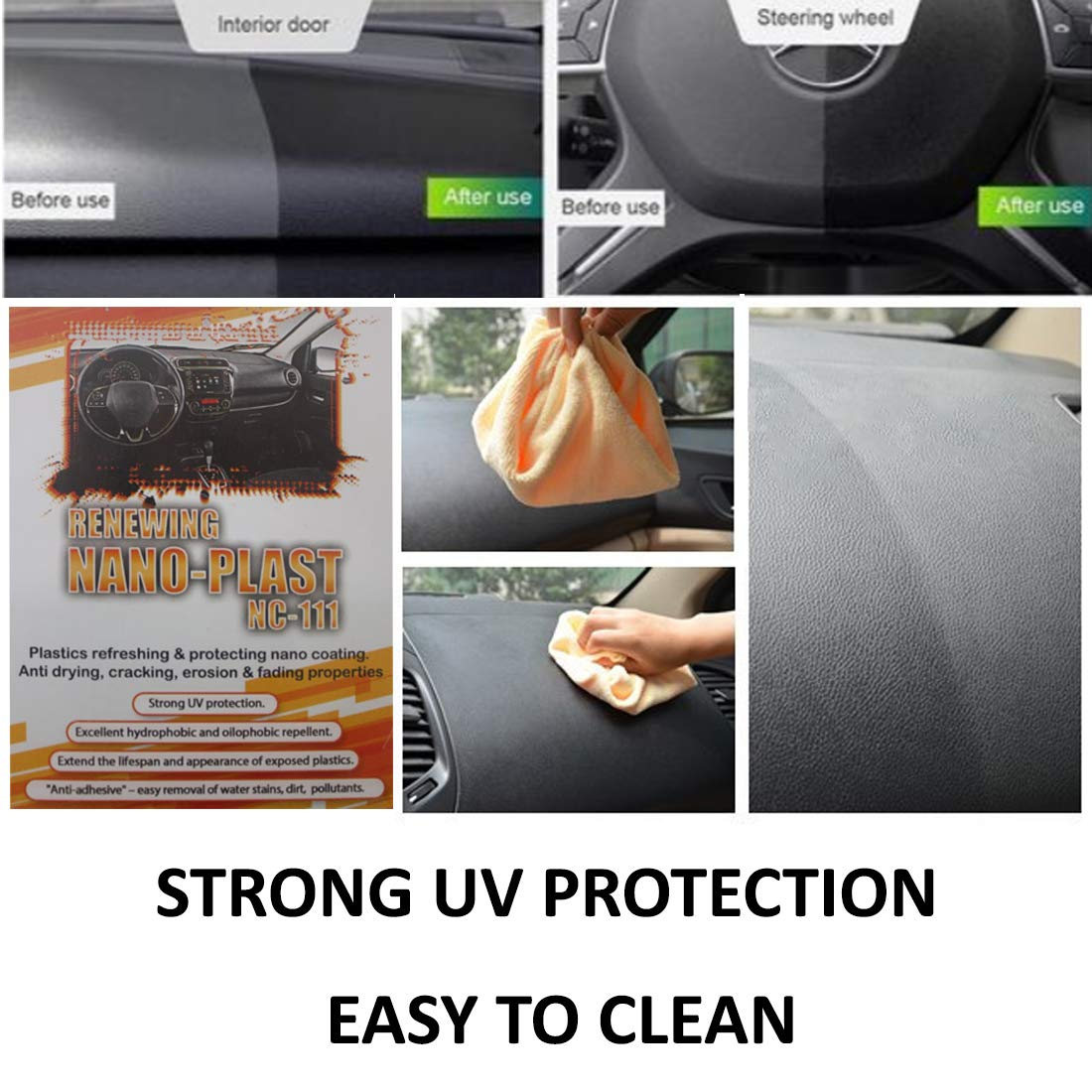 Nano NC-111 Renewing Dashboard Protector Car Plastic Protection [Anti Scratch and Dust] UV Sun Protection for Dash Board - Prevents Cracking Water and Oil Repellent [Easy to Clean Effect] 30ml by NANO-Z COATING (Image #3)